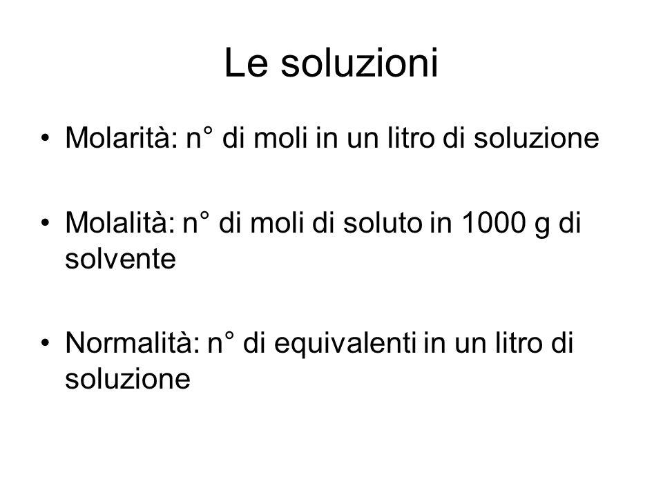 Le soluzioni Molarità: n° di moli in un litro di soluzione