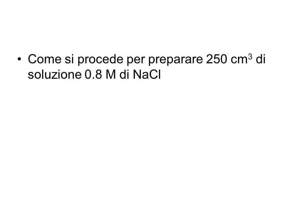 Come si procede per preparare 250 cm3 di soluzione 0.8 M di NaCl