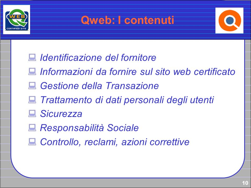 Qweb: I contenuti Identificazione del fornitore