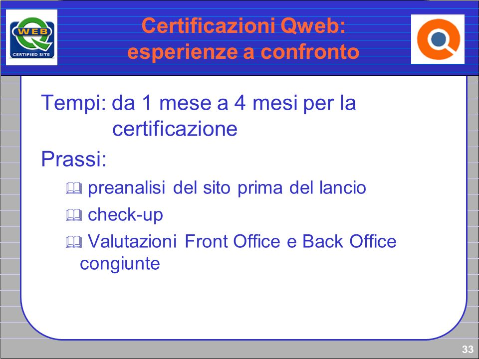 Certificazioni Qweb: esperienze a confronto