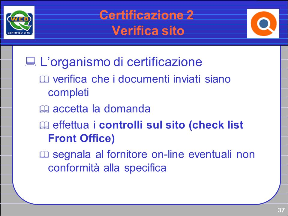 Certificazione 2 Verifica sito