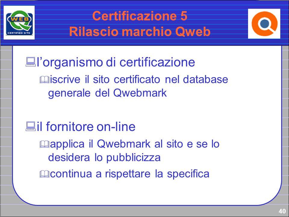 Certificazione 5 Rilascio marchio Qweb