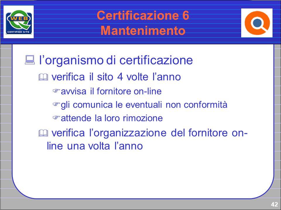 Certificazione 6 Mantenimento