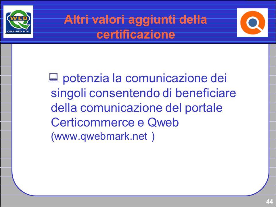 Altri valori aggiunti della certificazione