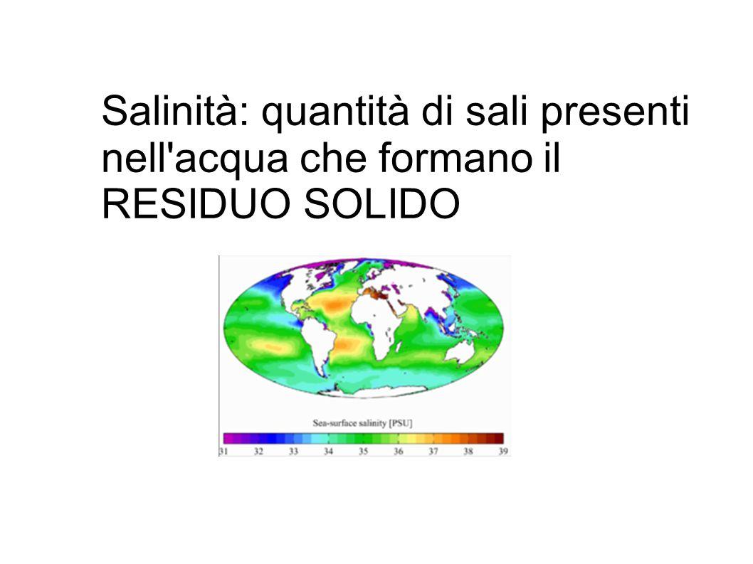 Salinità: quantità di sali presenti
