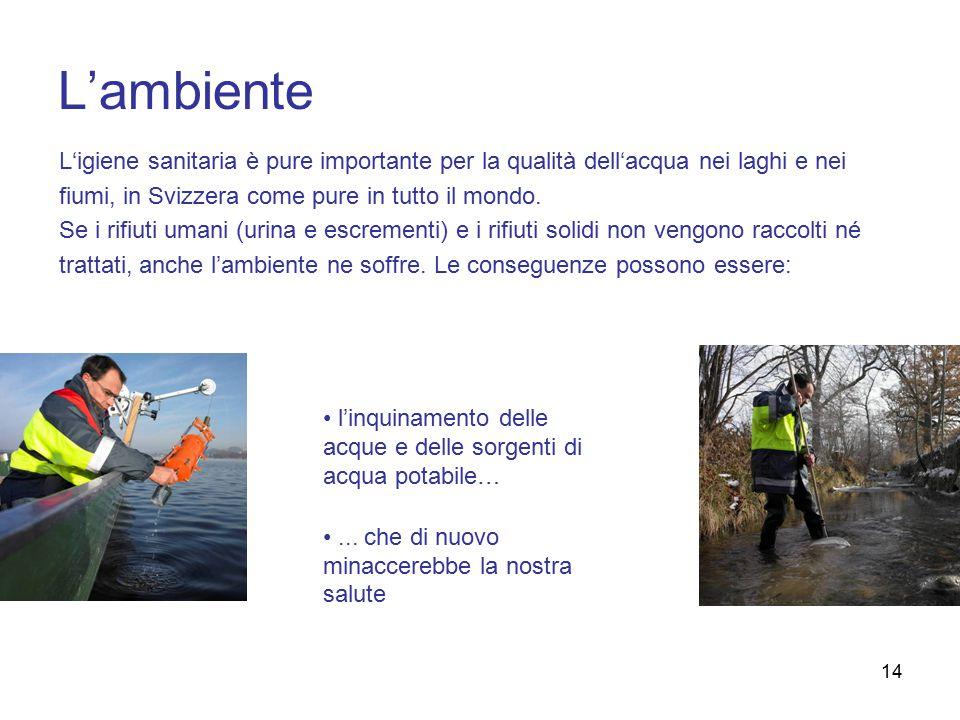 L'ambiente L'igiene sanitaria è pure importante per la qualità dell'acqua nei laghi e nei. fiumi, in Svizzera come pure in tutto il mondo.