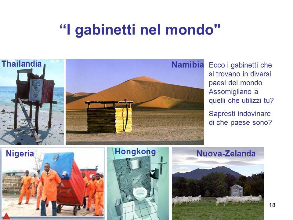I gabinetti nel mondo Thailandia Namibia Hongkong Nigeria