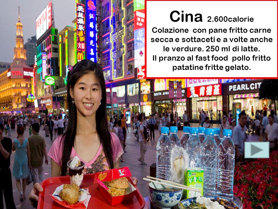 Cina 2.600calorie Colazione con pane fritto carne secca e sottaceti e a volte anche le verdure.