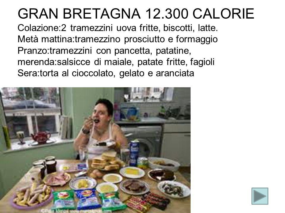 GRAN BRETAGNA 12.300 CALORIE Colazione:2 tramezzini uova fritte, biscotti, latte.