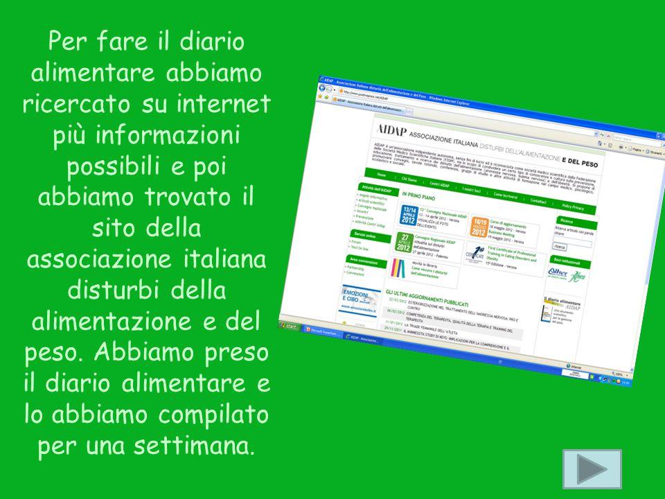 Per fare il diario alimentare abbiamo ricercato su internet più informazioni possibili e poi abbiamo trovato il sito della associazione italiana disturbi della alimentazione e del peso.