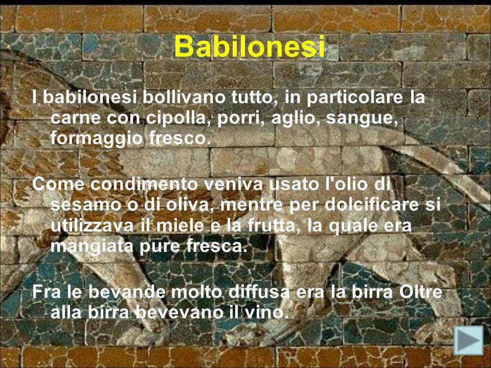 Babilonesi I babilonesi bollivano tutto, in particolare la carne con cipolla, porri, aglio, sangue, formaggio fresco.