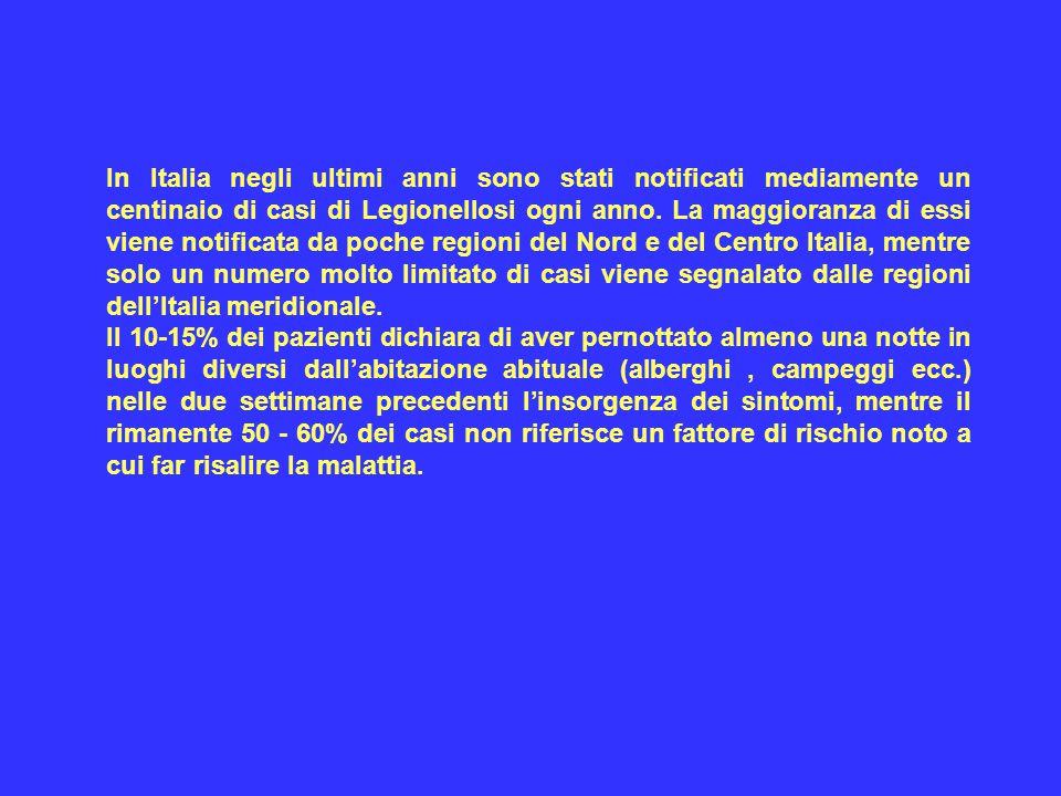 In Italia negli ultimi anni sono stati notificati mediamente un centinaio di casi di Legionellosi ogni anno. La maggioranza di essi viene notificata da poche regioni del Nord e del Centro Italia, mentre solo un numero molto limitato di casi viene segnalato dalle regioni dell'Italia meridionale.