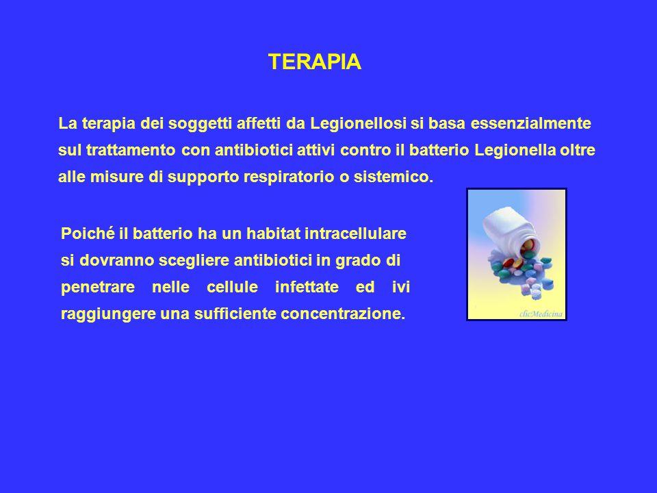 TERAPIA La terapia dei soggetti affetti da Legionellosi si basa essenzialmente.