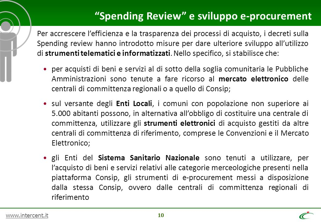 Spending Review e sviluppo e-procurement