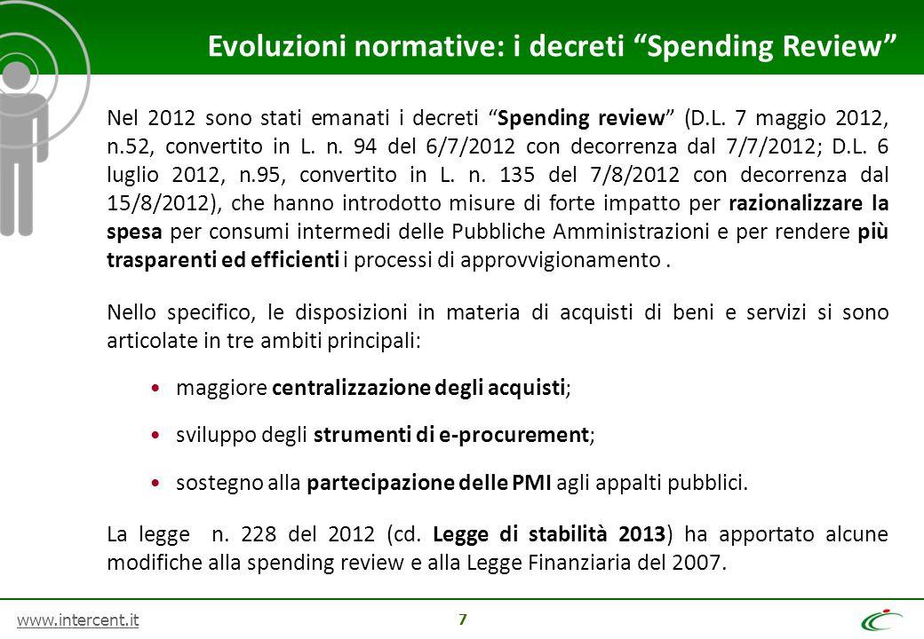 Evoluzioni normative: i decreti Spending Review