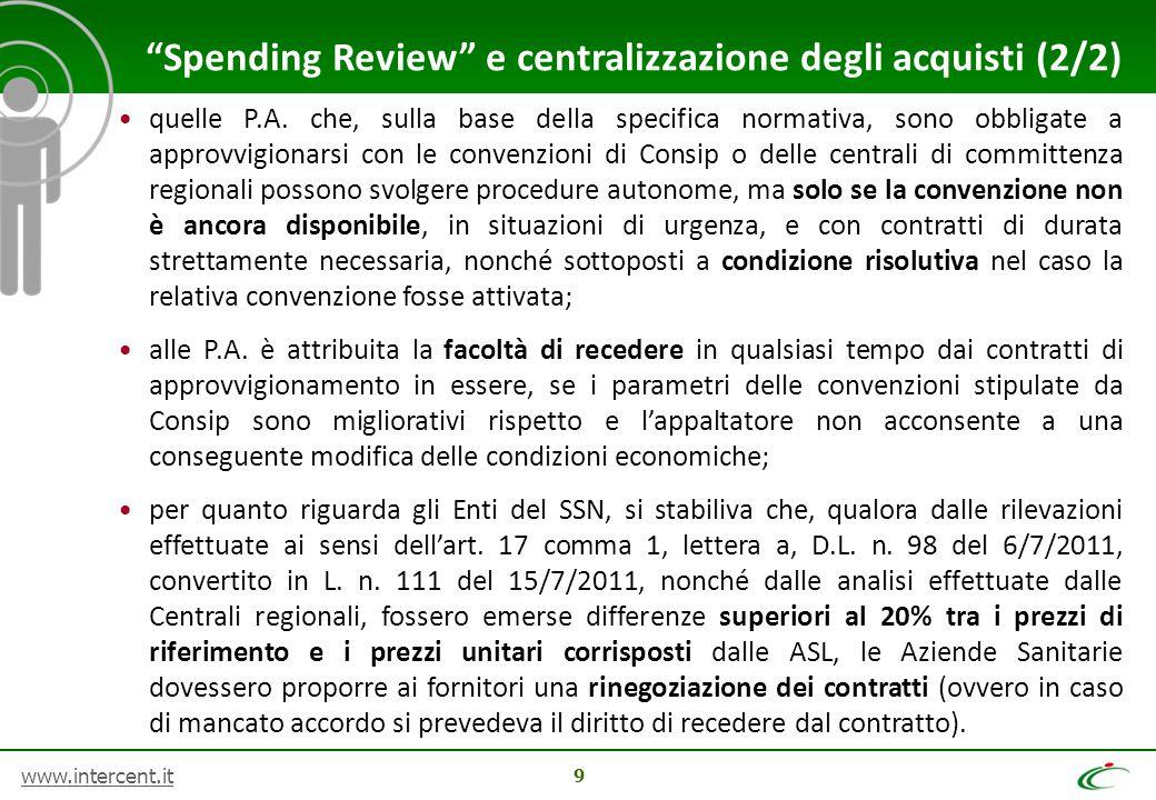 Spending Review e centralizzazione degli acquisti (2/2)