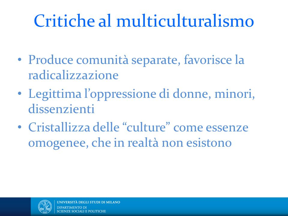 Critiche al multiculturalismo