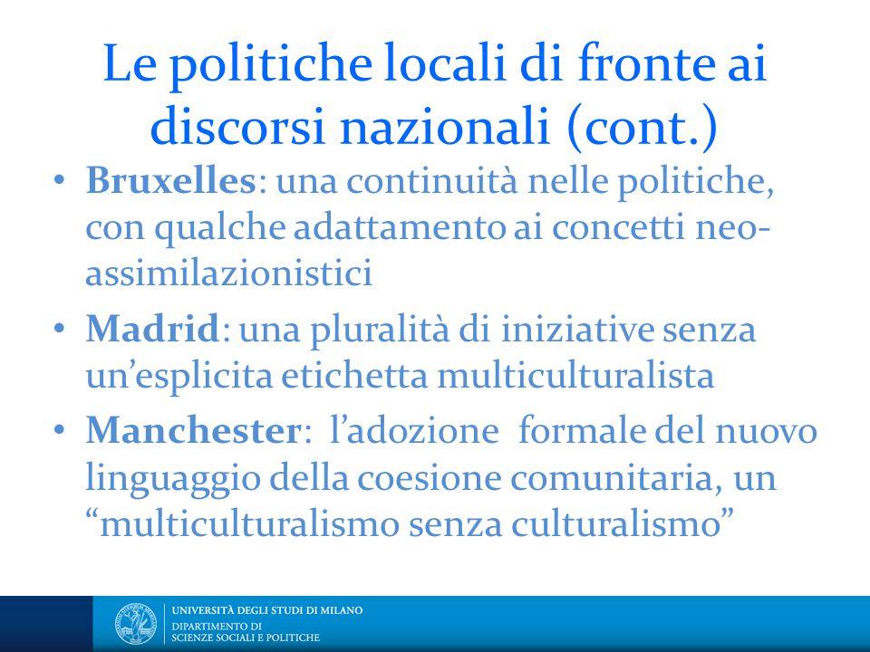 Le politiche locali di fronte ai discorsi nazionali (cont.)