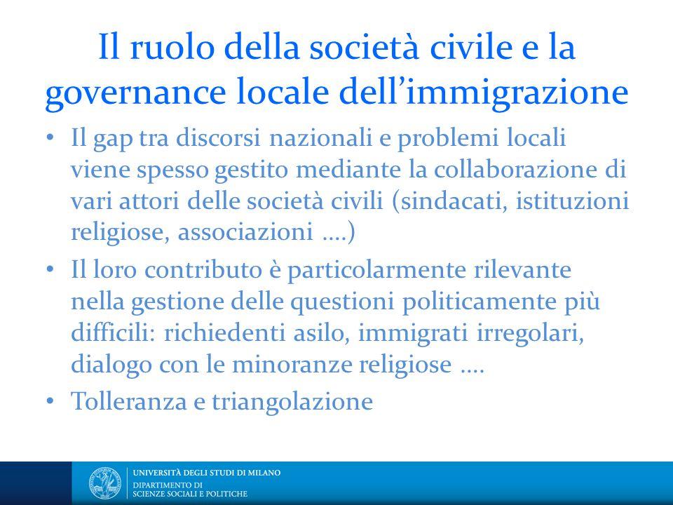Il ruolo della società civile e la governance locale dell'immigrazione
