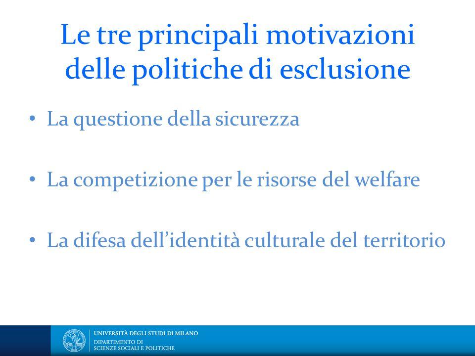Le tre principali motivazioni delle politiche di esclusione