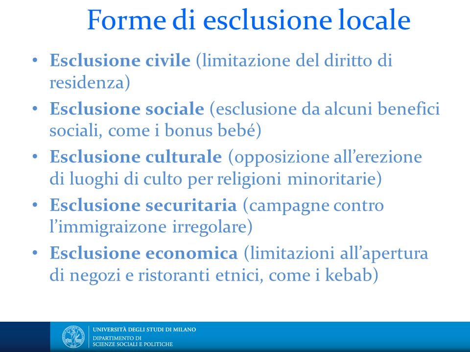 Forme di esclusione locale