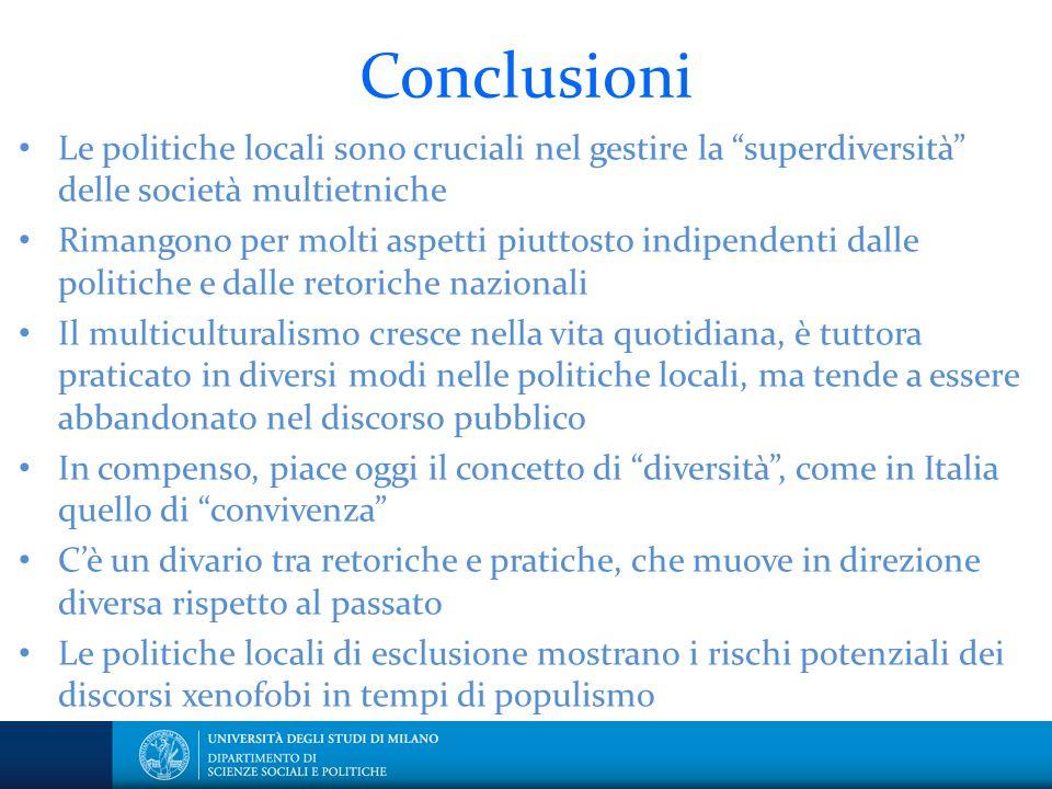 Conclusioni Le politiche locali sono cruciali nel gestire la superdiversità delle società multietniche.