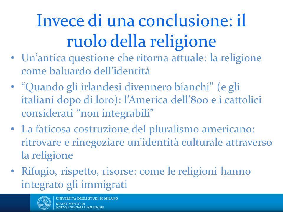 Invece di una conclusione: il ruolo della religione