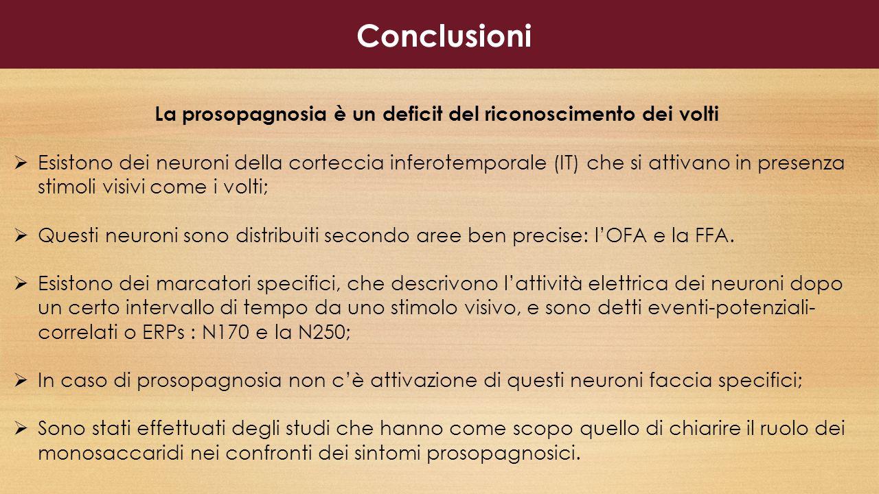 Conclusioni La prosopagnosia è un deficit del riconoscimento dei volti
