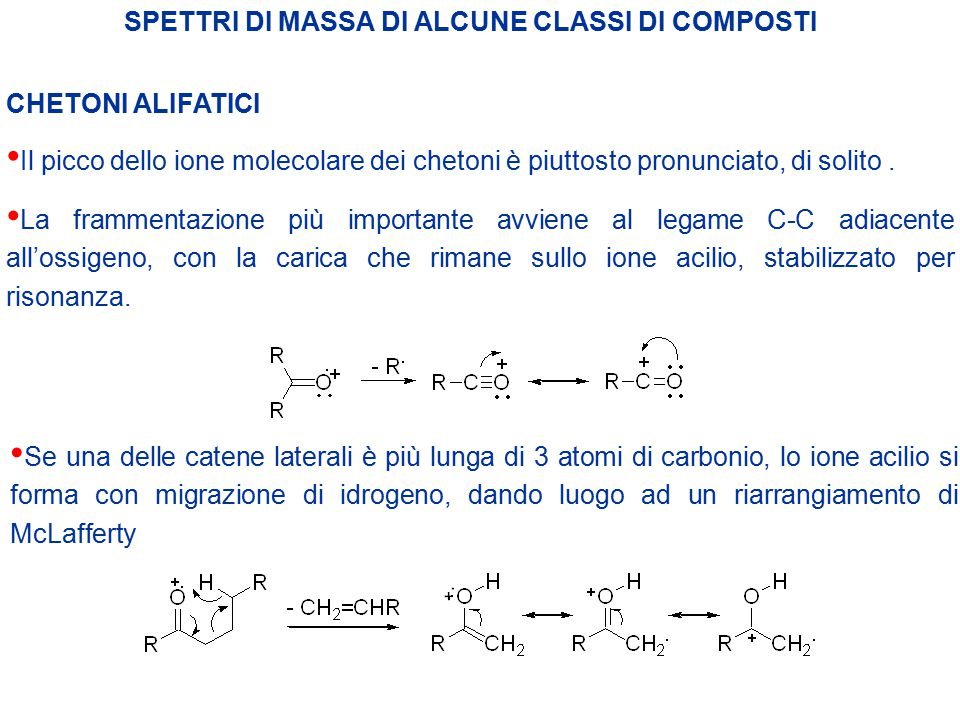 SPETTRI DI MASSA DI ALCUNE CLASSI DI COMPOSTI