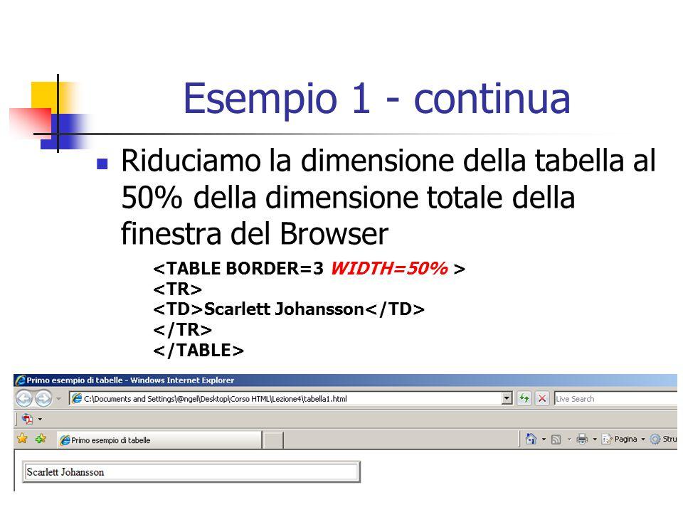 Esempio 1 - continua Riduciamo la dimensione della tabella al 50% della dimensione totale della finestra del Browser.