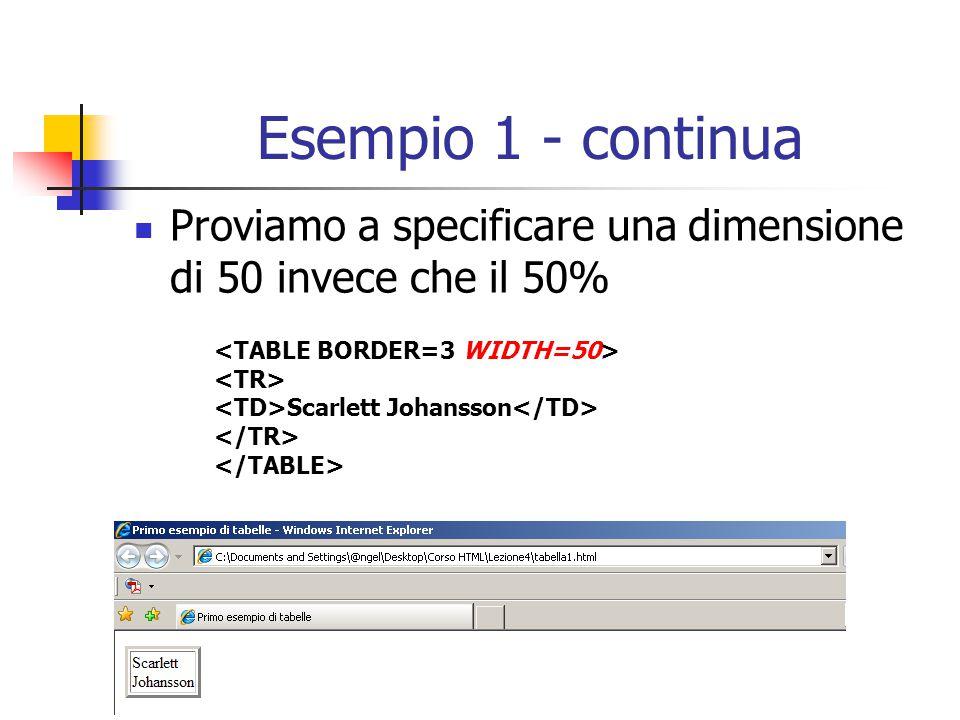 Esempio 1 - continua Proviamo a specificare una dimensione di 50 invece che il 50% <TABLE BORDER=3 WIDTH=50>