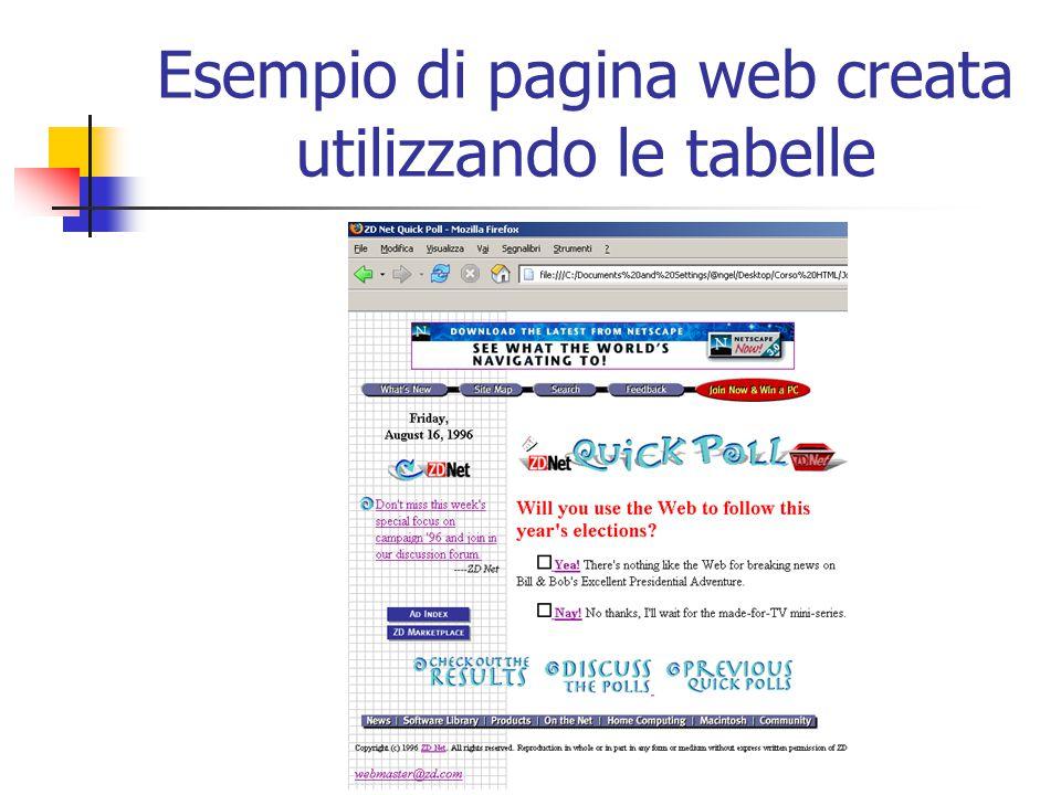 Esempio di pagina web creata utilizzando le tabelle