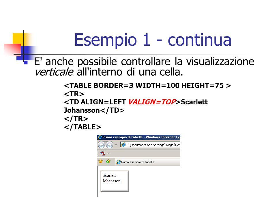 Esempio 1 - continua E anche possibile controllare la visualizzazione verticale all interno di una cella.