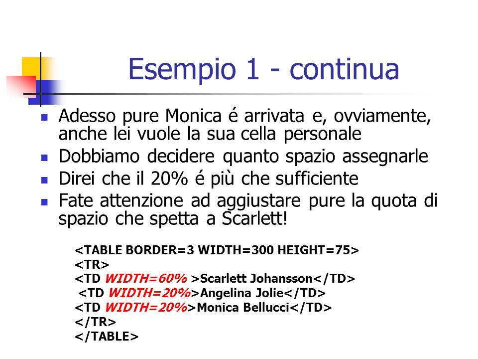 Esempio 1 - continua Adesso pure Monica é arrivata e, ovviamente, anche lei vuole la sua cella personale.