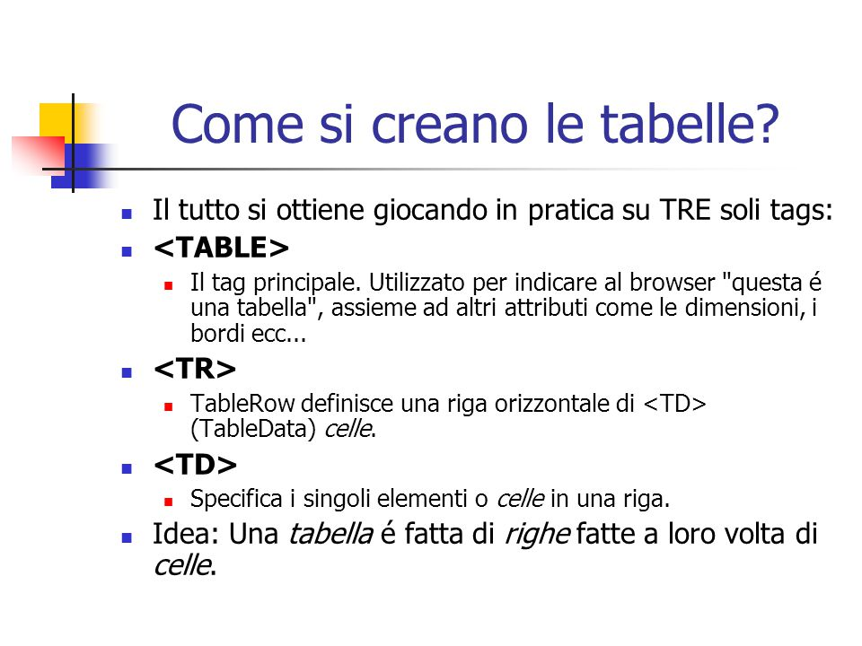 Come si creano le tabelle