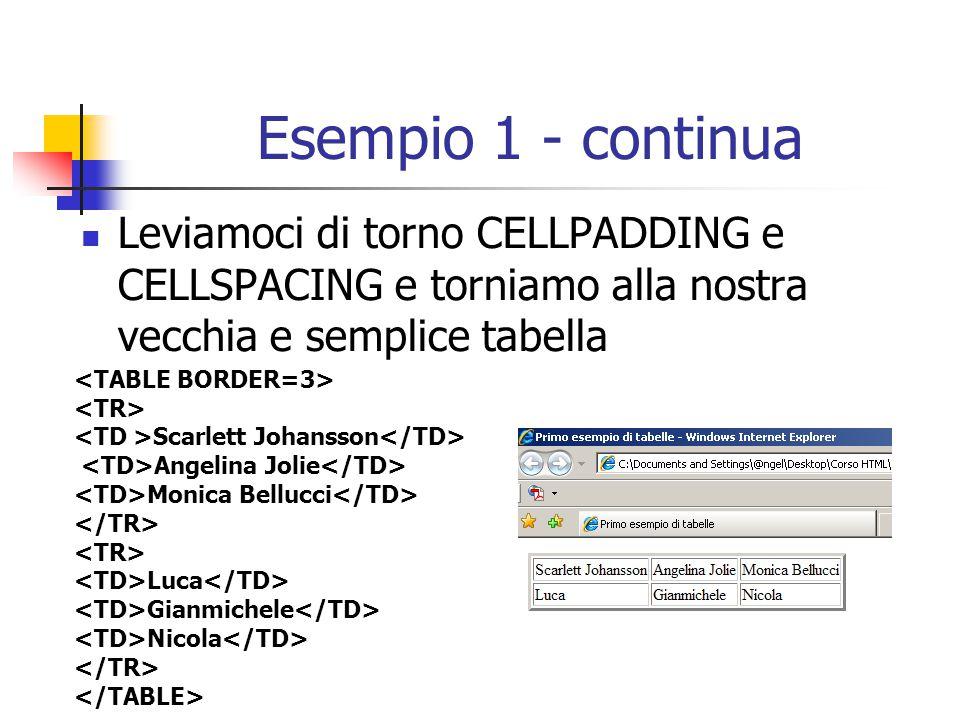 Esempio 1 - continua Leviamoci di torno CELLPADDING e CELLSPACING e torniamo alla nostra vecchia e semplice tabella.