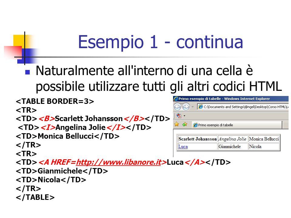Esempio 1 - continua Naturalmente all interno di una cella è possibile utilizzare tutti gli altri codici HTML.