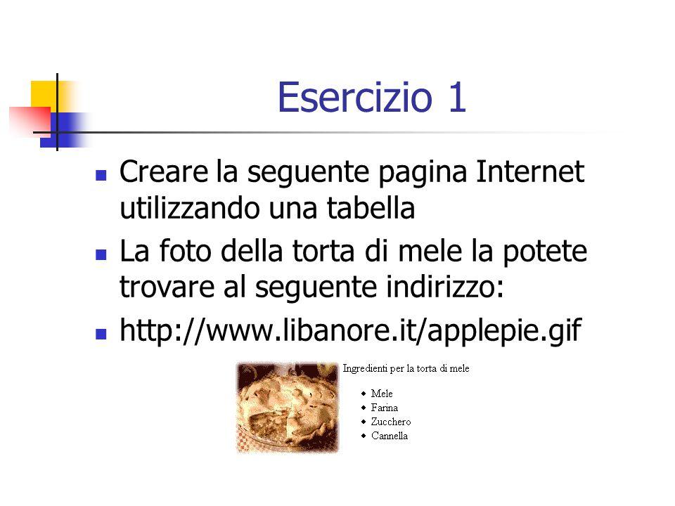 Esercizio 1 Creare la seguente pagina Internet utilizzando una tabella