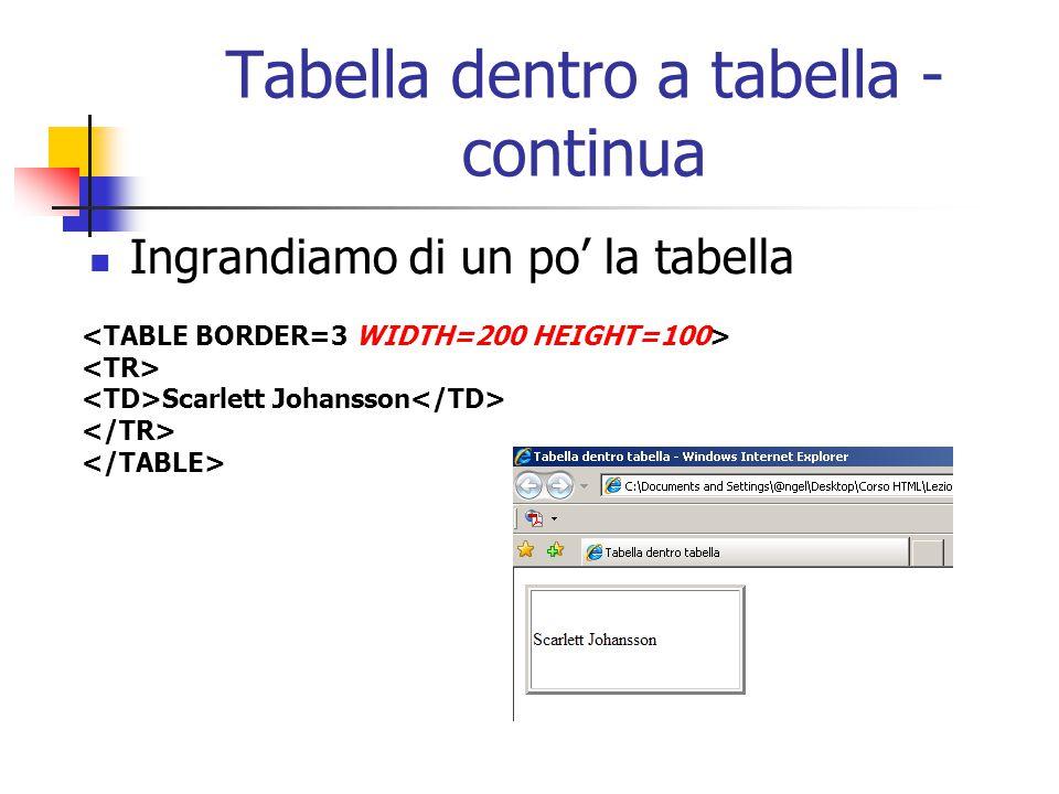 Tabella dentro a tabella - continua