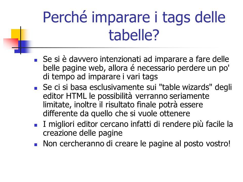 Perché imparare i tags delle tabelle