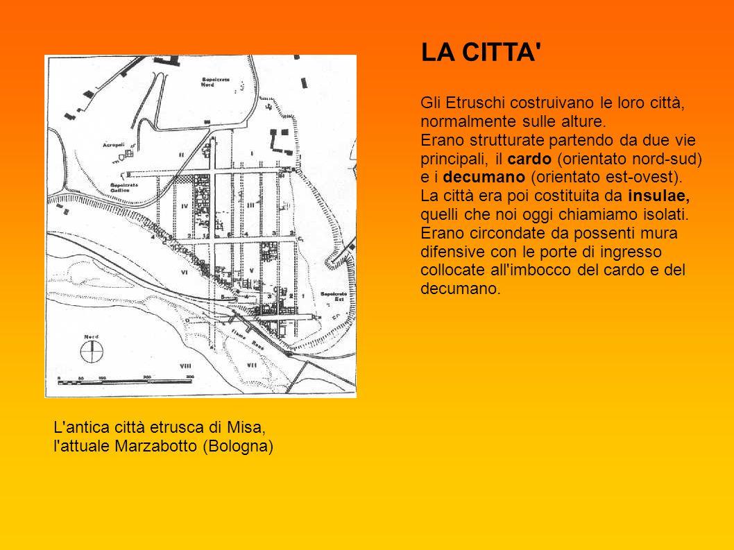 LA CITTA Gli Etruschi costruivano le loro città, normalmente sulle alture.