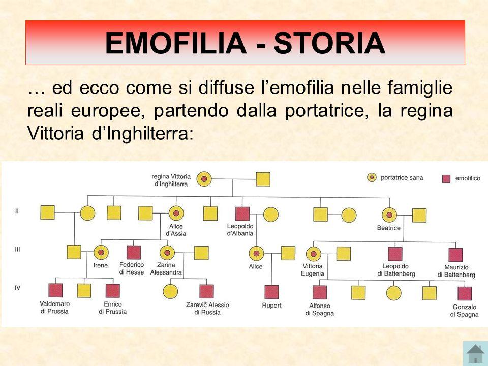 EMOFILIA - STORIA … ed ecco come si diffuse l'emofilia nelle famiglie reali europee, partendo dalla portatrice, la regina Vittoria d'Inghilterra: