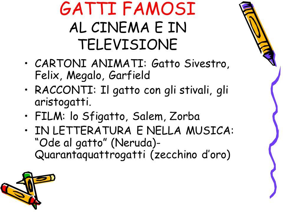 GATTI FAMOSI AL CINEMA E IN TELEVISIONE