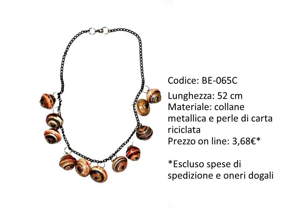 Codice: BE-065C Lunghezza: 52 cm. Materiale: collane metallica e perle di carta riciclata. Prezzo on line: 3,68€*
