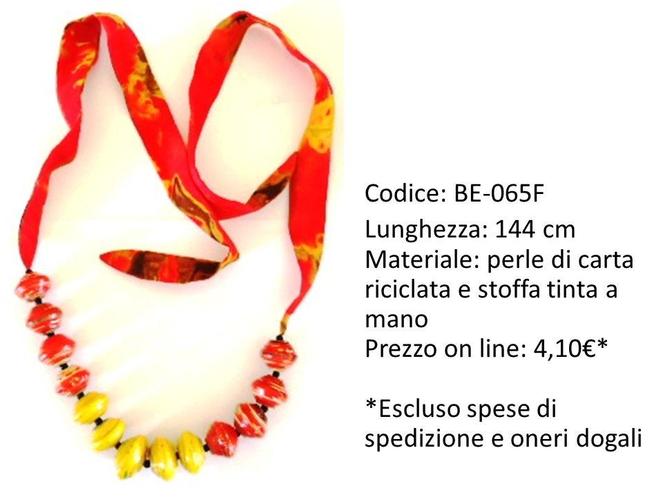 Codice: BE-065F Lunghezza: 144 cm. Materiale: perle di carta riciclata e stoffa tinta a mano. Prezzo on line: 4,10€*
