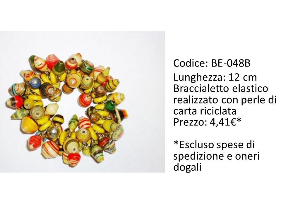 Codice: BE-048B Lunghezza: 12 cm. Braccialetto elastico realizzato con perle di carta riciclata. Prezzo: 4,41€*