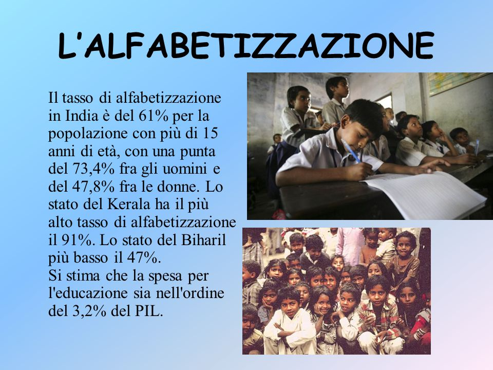 L'ALFABETIZZAZIONE