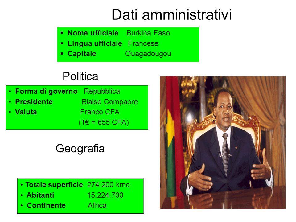 Dati amministrativi Politica Geografia Nome ufficiale Burkina Faso