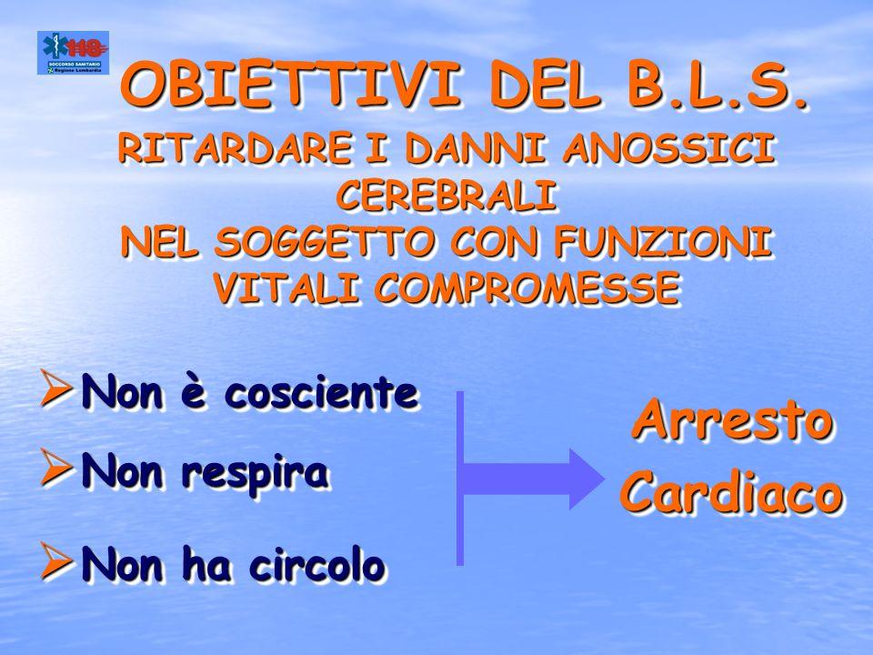 OBIETTIVI DEL B.L.S. Arresto Cardiaco Non è cosciente Non respira