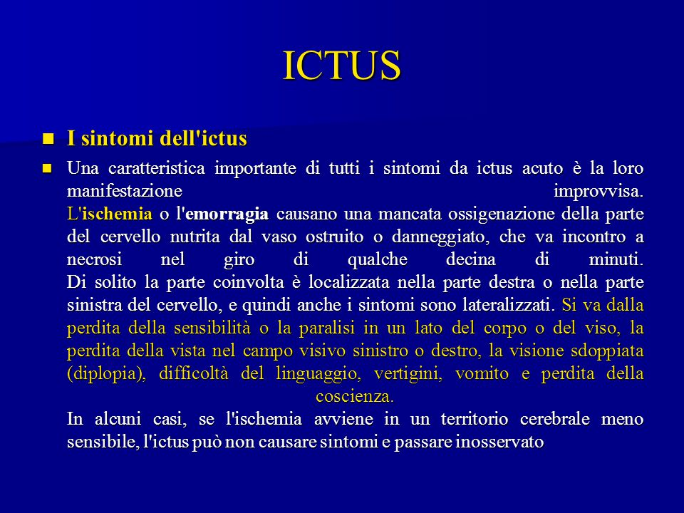 ICTUS I sintomi dell ictus